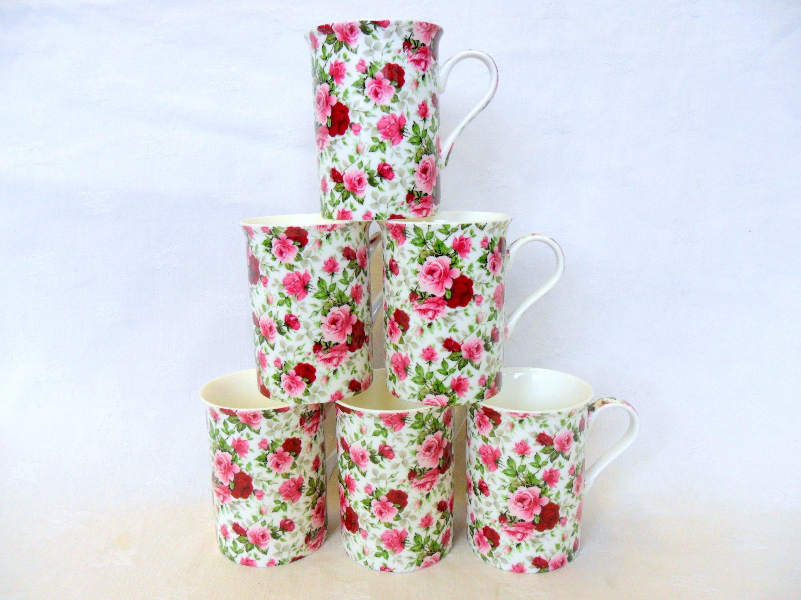 Set of 6 China 10oz Mugs in Summertime Design