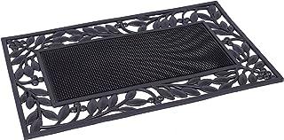 BIRDROCK HOME Rubber Doormat with Leaf Border - 17.72 x 29.92 - Rubber Bristles - Outdoor Doormat - Keeps Your Floors Clea...