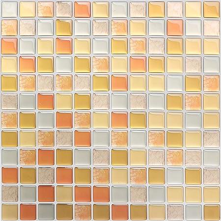 HyFanStr 4枚セット 3D キッチンタイル シール モザイクタイルシール 洗面所 トイレウォールステッカー 防水 DIY 壁貼りシール (オレンジ)