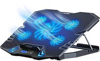 جهاز تبريد لابتوب سي5 من توب ميت للقيمنق، مروحة تبريد لابتوب قائمة وقابلة للتعديل مع 5 مراوح صامتة بضوء LED ازرق، بساط تبر...