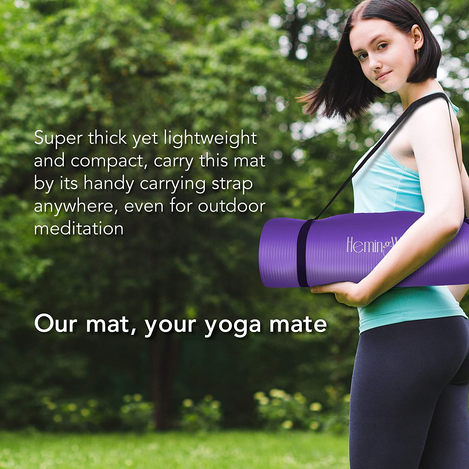 HemingWeigh Extra Thick High Density Exercise Yoga Mat with Carrying Strap for Exercise, Yoga and Pilates (Purple 2 Pack 1/2 Inch) : Sports & Outdoors