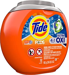 Tide Pods Ultra Oxi Liquid Detergent Pacs, 32 Little Capsules (Pack of 2)