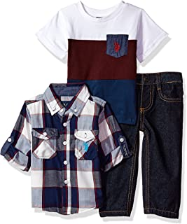 Baby Boys' Sport Shirt, Creeper and Pant Set