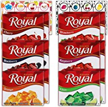 Royal Gelatin Variety Pack of 12   2 Box Each - Strawberry, Orange, Lime, Raspberry, Blackberry and Cherry   Bundled with ...