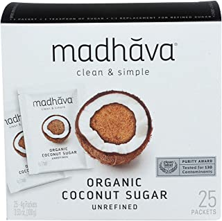 MADHAVA Organic Coconut Sugar Single Serve Packets (Pack of 25)   Natural Sweetener, Sugar Alternative   Unrefined   Sugar...