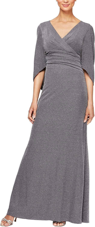 Alex Evenings Women's Long A-line Dress with Draped Cowl Back