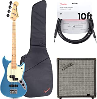 Fender Offset Series Mustang Bass PJ MN Lake Placid Blue w/3-Ply Mint Pickguard (CME Exclusive) Essentials Bundle