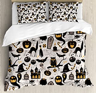 Ambesonne Vintage Halloween Duvet Cover Set King Size, Halloween Cartoon Jack o Lantern Tombstone Skulls and Bones, Decorative 3 Piece Bedding Set with 2 Pillow Shams, Pale Grey