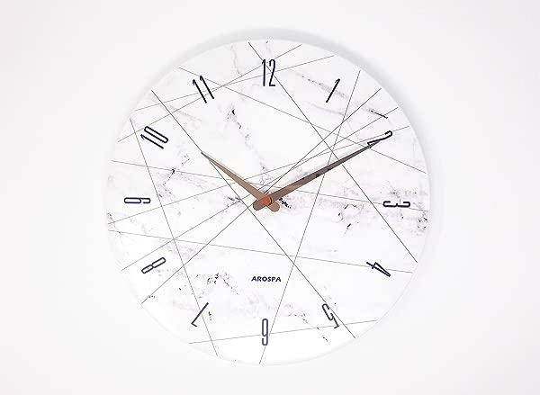 现代艺术灵感设计非滴答无声扫 12 开放的脸挂钟与光泽白色成品框架白色大理石与线条