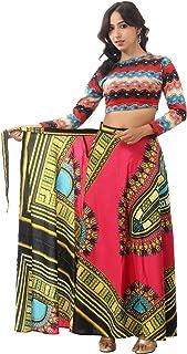 "Handicraft-Palace"" Pink Dashiki Floral Printed Skirt Wrap Around Women's Long Regular Fit Cotton Wrap Around for Women's"