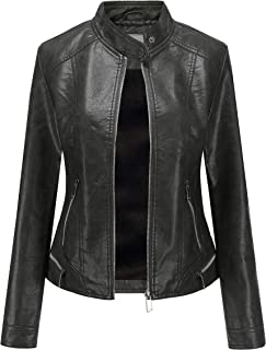 Women's Faux Leather Jacket Moto Casual Short Coat for...