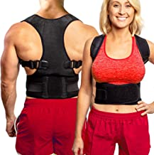 Back Brace Posture Corrector - Best Fully Adjustable Support Brace - Improves Posture and Provides Lumbar Support - for Lower and Upper Back Pain - Men and Women (L (30