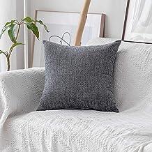 (70cm x 70cm, B-Light Grey) - HOME BRILLIANT Decor Supersoft Striped Velvet Chenille Decorative Euro Sham Pillowcase Throw...