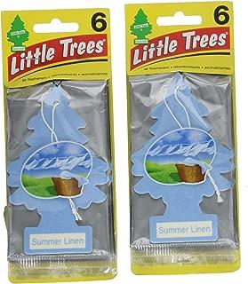 Little Trees Cardboard Hanging Car, Home & Office Air Freshener, Summer Linen (Pack of 12)