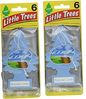 Little Trees Cardboard Hanging Car, Home & Office Air Freshener, Summer Linen (Pack of 12)