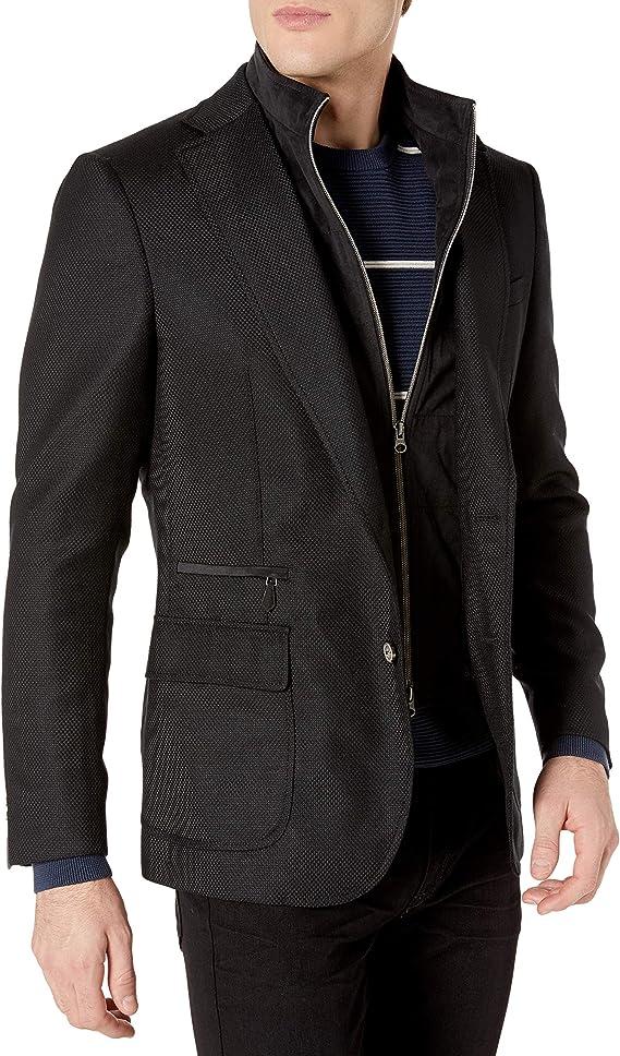 Haggar Mens Birdseye Fancy Slim Fit 2-Button Side Vent Sport Coat