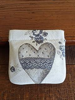 Portamonete con cuore fatto a mano, BEIGE - grigio pastello, idea regalo, San Valentino, Anniversario, Matrimonio, Bomboni...