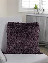"Urban Loft by Westex Shiny Shag Polyester Filled Decorative Throw Pillow Cushion, 20"" x 20"", Purple"