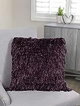 Urban Loft by Westex Shiny Shag Polyester Filled Decorative Throw Pillow Cushion, 20 x 20, Purple