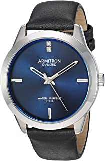 Armitron Men's Genuine Diamond Dial Silver-Tone and Black Leather Strap Watch, 20/5408NVSVBK