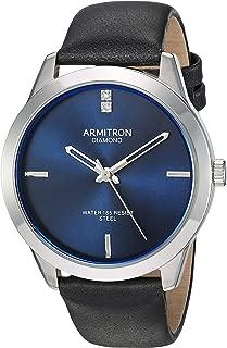 Men's Genuine Diamond Dial Silver-Tone and Black Leather Strap Watch, 20/5408NVSVBK