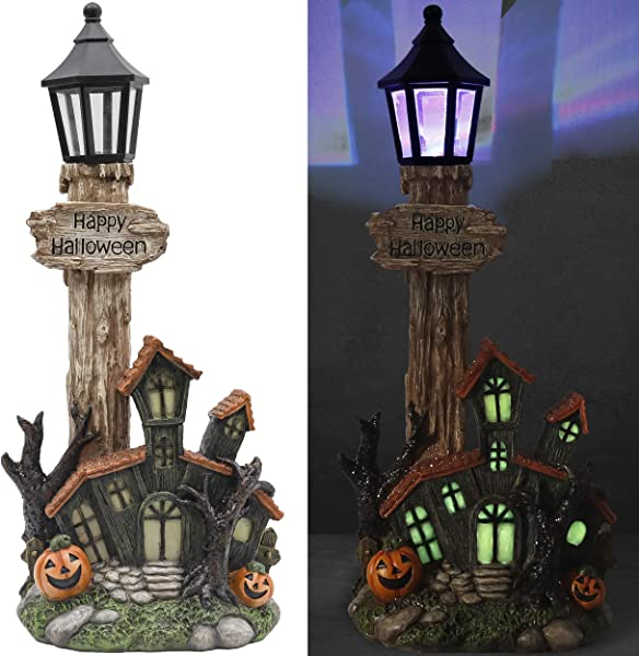 Valery Madelyn 15 Inch Pre Lit Halloween Haunted House With Pumpkin Treat Or Trick Halloween Statue With Color Changing Lights For Halloween Decoration And Happy Halloween Theme