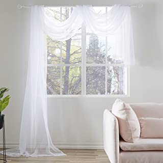 KEQIAOSUOCAI White Sheer Window Scarf Valance Sheer Fabric for Draping Curtain Toppers for Wedding Party Girls Room Bed Ca...