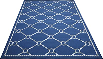 "Waverly Sun & Shade Rope Coastal/Nautical Navy Indoor/Outdoor Area Rug by Nourison 5'3"" x 7'5"""