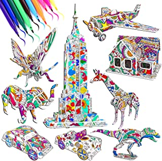 9 Pack 3D Puzzle Coloring Set Kids Art and Crafts DIY Activities Family Art Supplies Building Set Toys Drawing Pen Christmas Decoration Gift Model for Girls Boys Age 4 5 6 7 8 10 11 12 Years Old