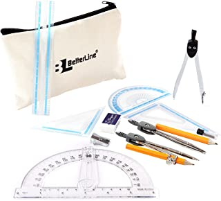Geometry and Compass Math Set - 15 Pieces Includes Rulers, Protractors, Dividers, Set Squares, Compasses and Carry Case - Perfect School Supplies for Students and Teachers (1)