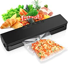 [2020 LATEST] Vacuum Sealer Machine, Automatic Food Sealer Air Sealing System for Food Savers w/Starter Kit|Seal a Meal Foodsave Packing|Led Indicator Lights|Dry & Moist Food Modes| (15 Pack Bags) (Black)