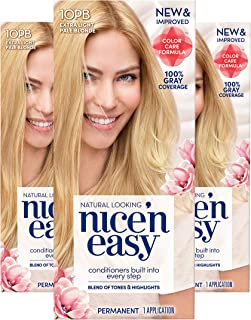 Clairol Nice 'n Easy Permanent Hair Color, 10PB Extra Light Pale Blonde, Pack of 3