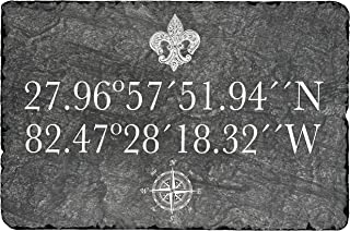 """Beautifully Handcrafted and Customizable Slate Home Address Plaque (12""""x8"""" or 16""""x10"""" ) Longitude Latitude Slate House Sign - Home Address Plaque Improve the curb appeal of your property"""