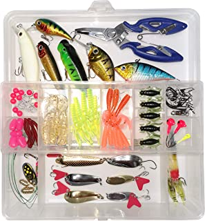 WDG 85Pcs Fishing Lures Kit, Bass Trout Fishing Baits Accessories Including Lures Hook, Plastic Worms, CrankBait, Topwater...