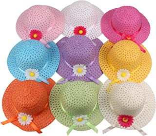 Girls Sunflower Straw Tea Party Hat Set (9 Pcs Assorted Colors)