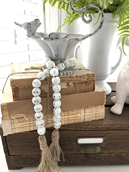 White Chippy Farmhouse Beads Wood Bead Garland Home Decor Beads