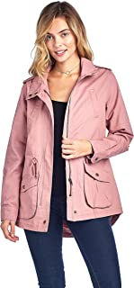 Khanomak High Neck Long Sleeve Drawstring Waist Long Cotton Utility Anorak Jacket