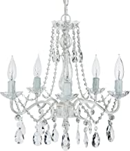 Amalfi Decor 5 Light LED Crystal Beaded Chandelier, Mini Wrought Iron K9 Glass Pendant Light Fixture Vintage Nursery Kids Room Dimmable Plug in Hanging Ceiling Lamp, Whitewashed