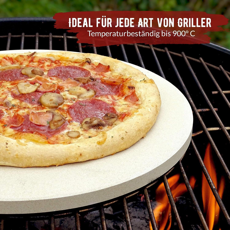 Convient /également parfaitement comme pierr Pierre /à pizza ronde de qualit/é sup/érieure avec pelle /à pizza et livre de recettes Grillart/® Premium Pierre /à pizza pour barbecue /à gaz et four