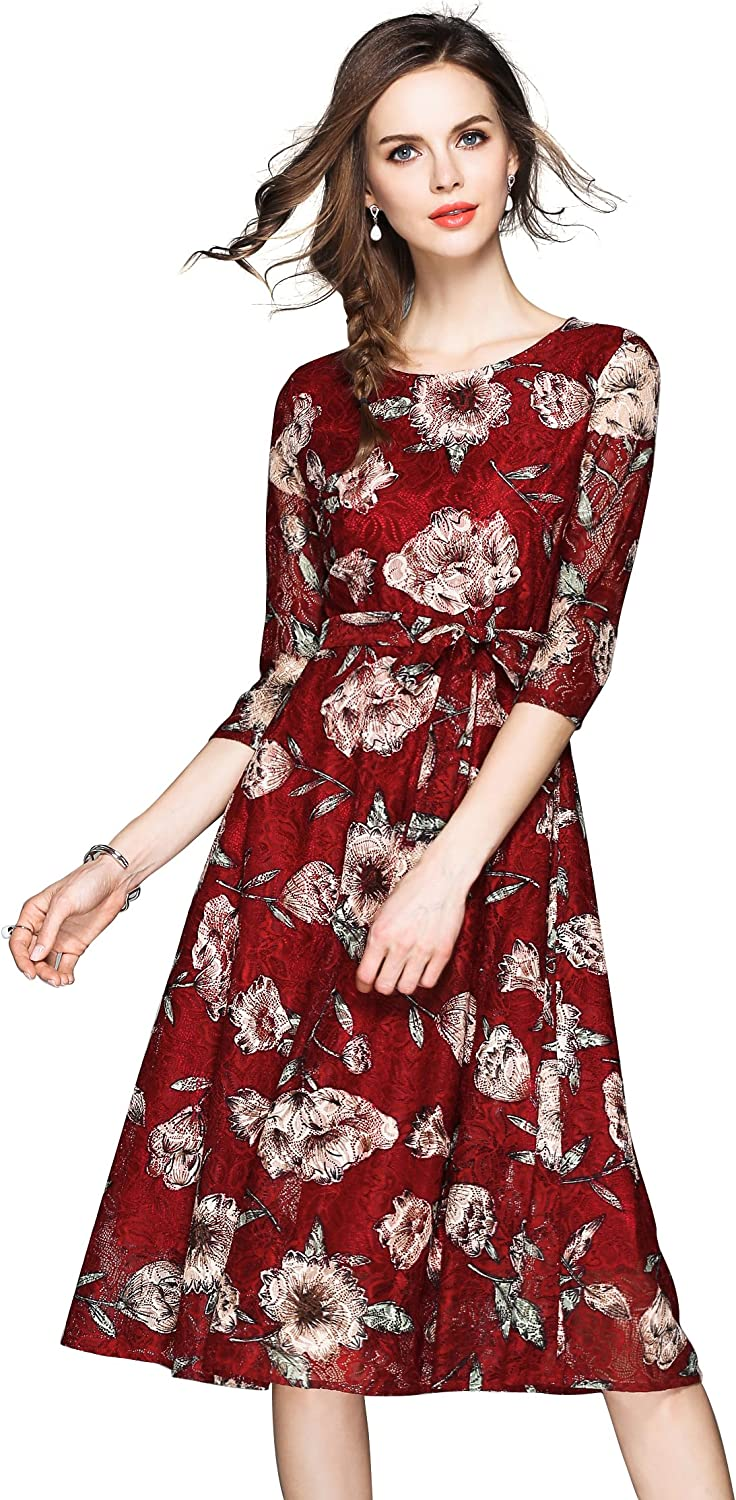 LAI MENG FIVE CATS Women's 2/3 Sleeve Floral Lace A line and Flared Cocktail Party Dress Burgundy