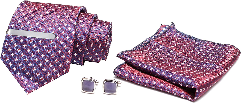 AXLON FL004 Mens Necktie Set with Micro Polyester Silk Tie, Clip, Pocket Square, Cufflinks & Brooch Pin Formal Tie (Set of 5)