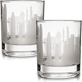 Greenline Goods Skyline Etched Philadelphia Whiskey Glasses Gift (Set of 2)   Old Fashioned Tumbler – For Philadelphia Lovers