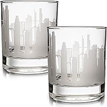 Greenline Goods Skyline Etched Philadelphia Whiskey Glasses Gift (Set of 2) | Old Fashioned Tumbler – For Philadelphia Lovers