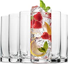 BENETI Exquisite Highball Drinking Glasses [Set of 6] Clear Water Glasses with Heavy Weighted Base, Tall Cocktail Glasses,...