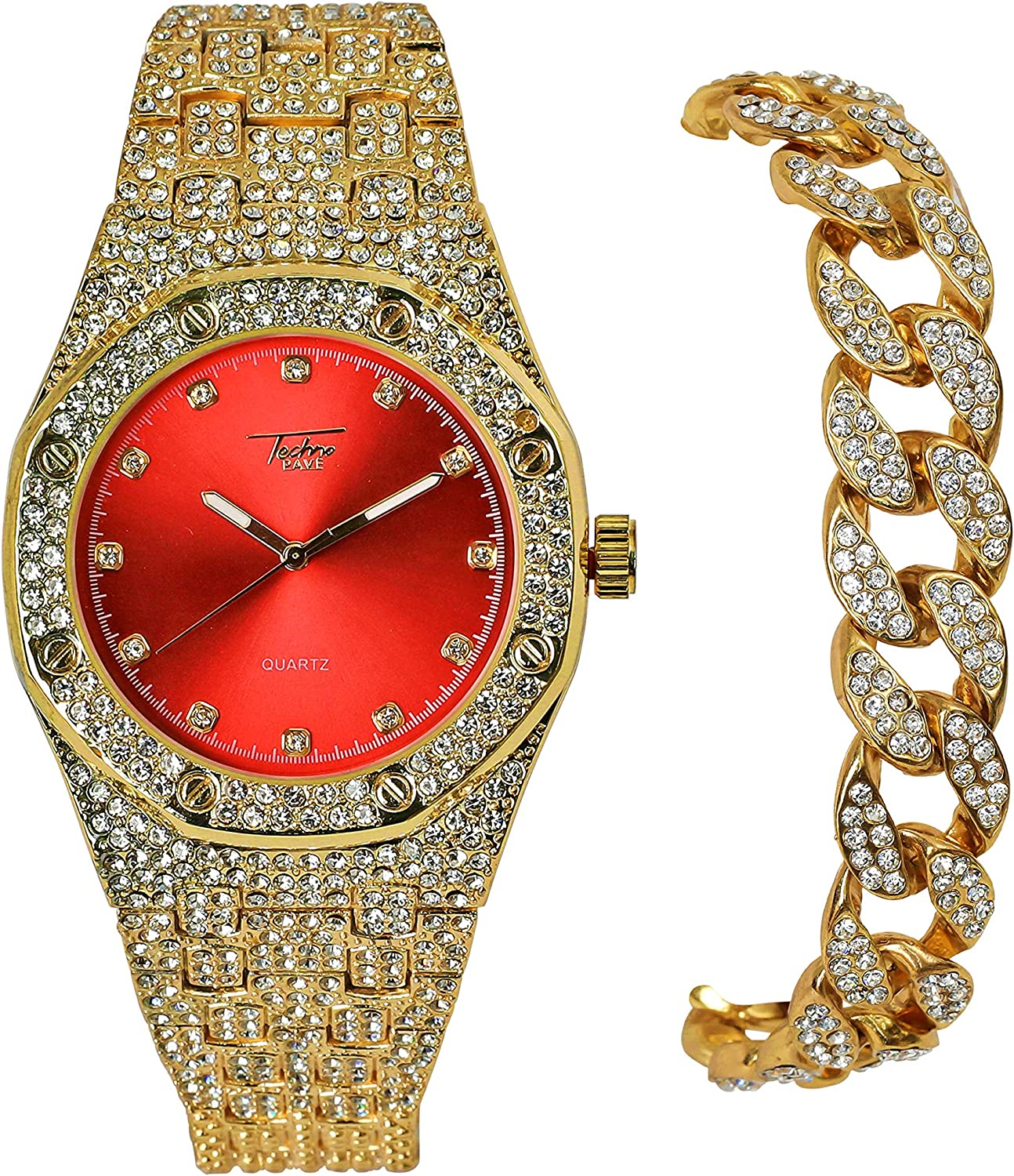 Mens Luxury Stylish NEW before selling ☆ In stock Red Clubbers Blin Influenced Rappers Gold PT