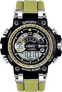 Lamkei LAM-1316 Black Dial Green Silicone Strap Digital Multifunction Watch for Men