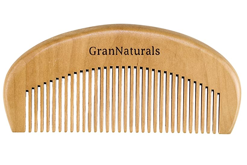 GranNaturals Wooden Comb Hair + Beard Detangler for Women and Men - Natural Anti Static Wood for Detangling and Styling Wet or Dry Curly, Thick, Wavy, or Straight Hair - Small Pocket Sized