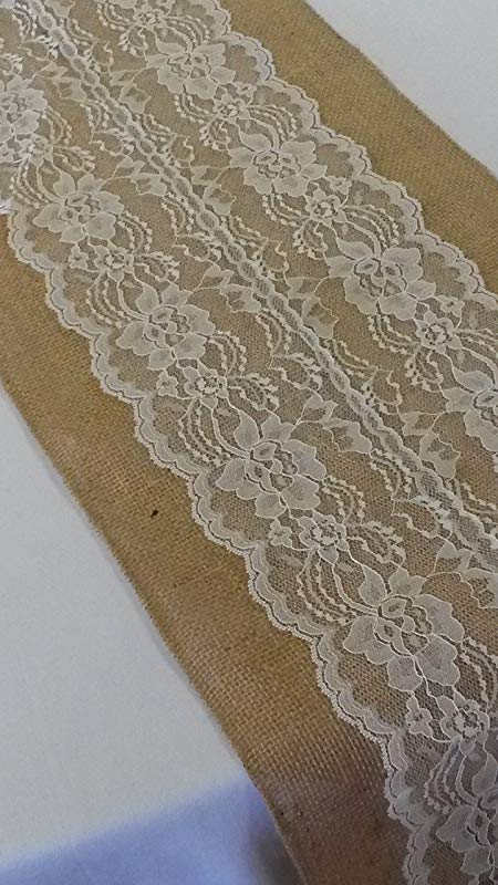 AK TRADING Burlap Lace Table Runner 12 W X 72 L Ivory Lace