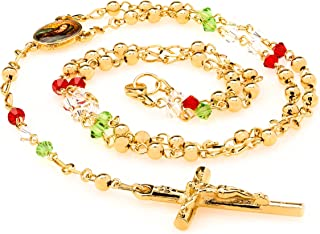 Rosary Necklace [ Colorful Crystal Prayer Beads ] 20X More 24k Plating Than Other Chains - Catholic Jesus Crucifix and Virgin Mary - Lifetime Replacement Guarantee 20-22 inches