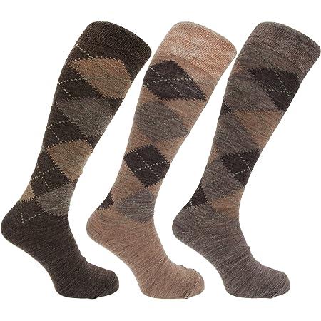 3x Pairs of Mens Long Length Lambswool Blend Argyle Design Socks/UK 6-11 Eur 39-45